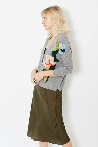 Allude Floral Patch Cardigan