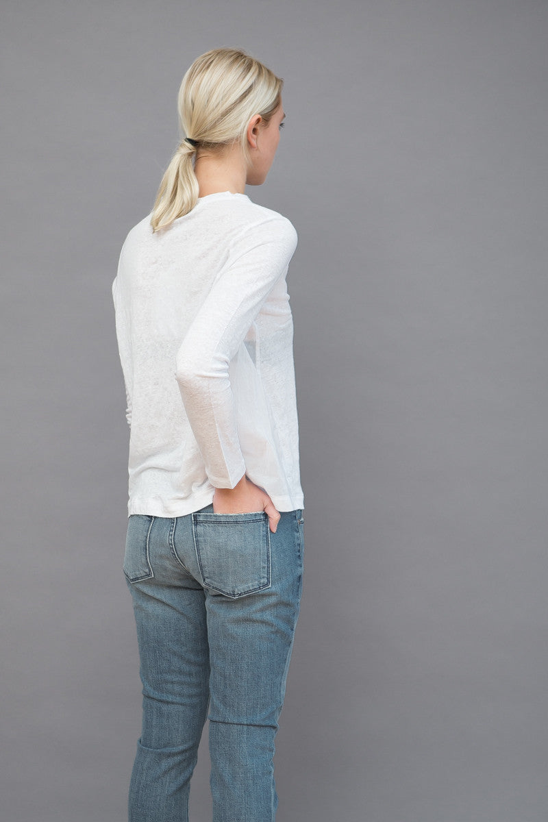 Allude Linen Crew With Pocket