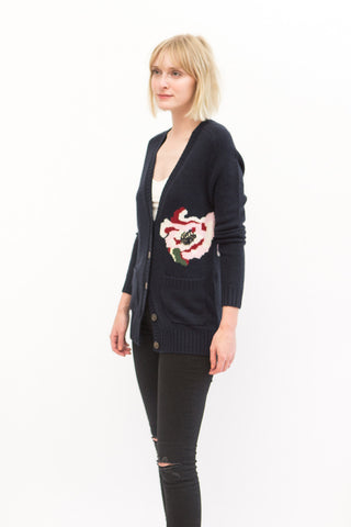 Allude Long V Floral Cardigan