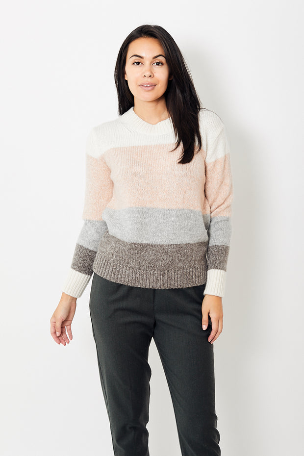 Allude Mohair Color Block Pullover