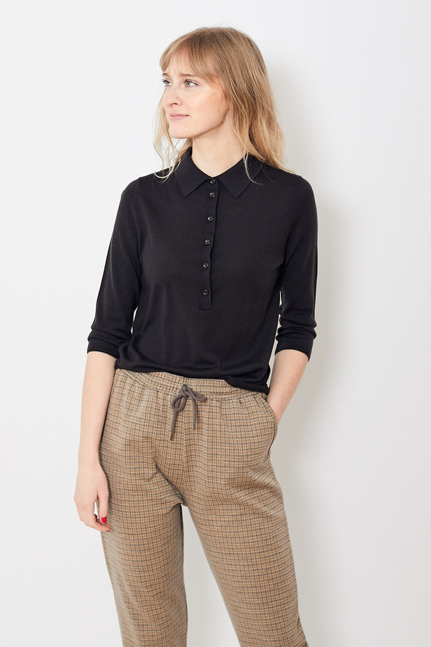 Allude Polo Cropped Sleeve Sweater