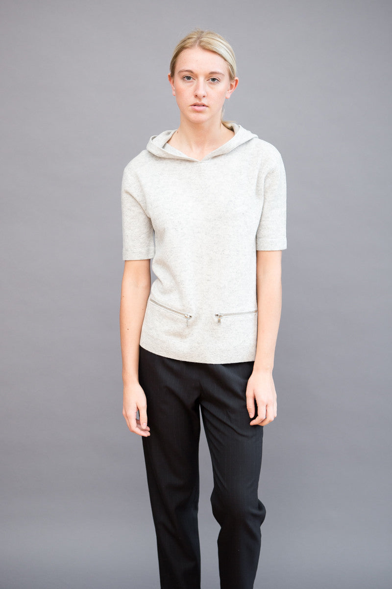 Allude Short Sleeve Hoodie with Zippers