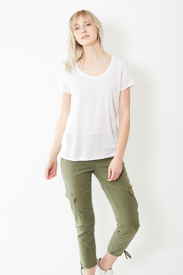 Allude Short Slv Linen Scoop Neck Tee