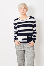 Allude Striped Pullover w/ Pockets