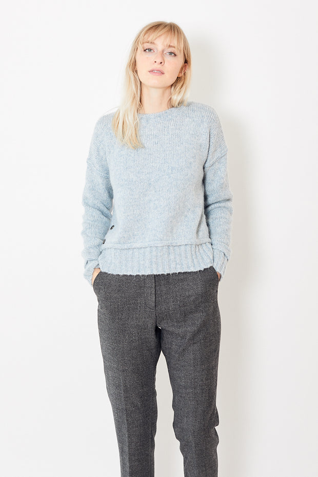 Allude Sweater with Side Buttons and Ribbed Hem