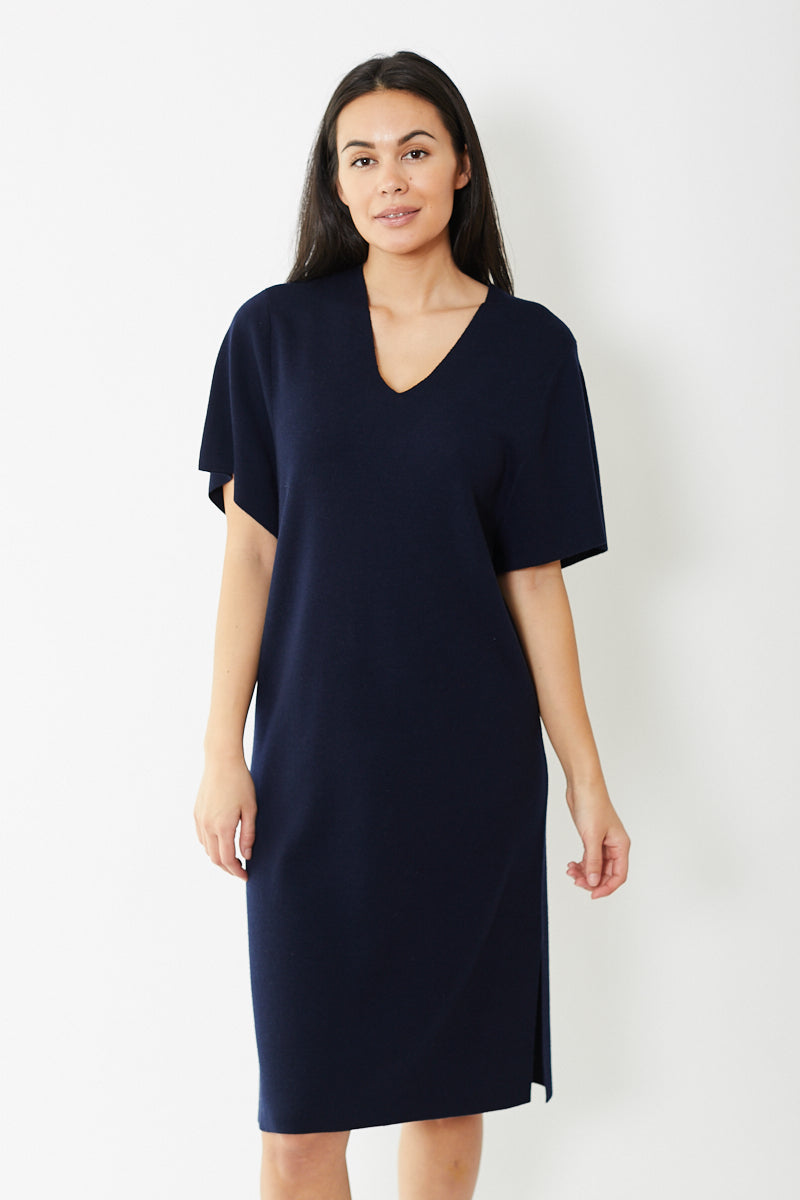 Allude V-Neck Sweater Dress