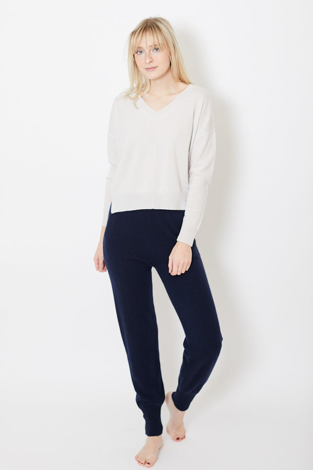 Allude V Neck Seamed Front Sweater