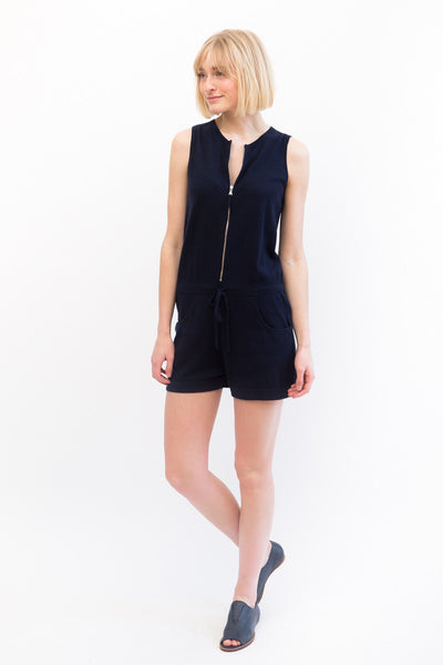 Allude Zip Front Sleeveless Romper