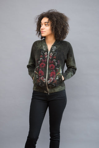 Avant Toi Zip Cardi With Embroidered Roses - grethen house
