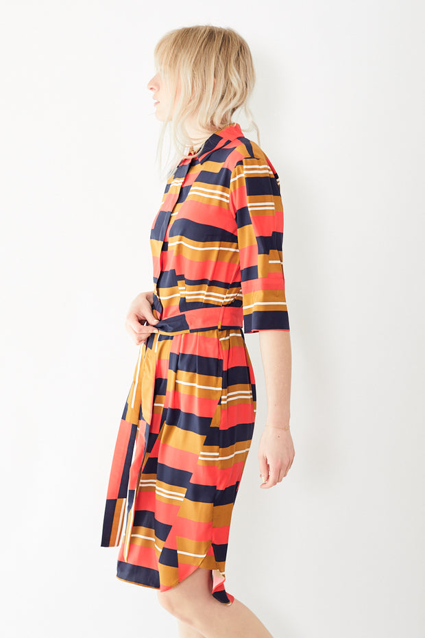 Bagutta Vintage Silk 3/4 Sleeve Dress