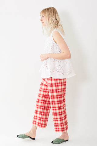 Berwich Wide Leg Cuffed Plaid Pant