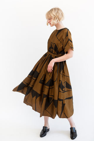 Black Crane Pleated Dress
