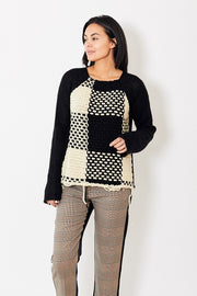 MM6 Chunky Knit Sweater Mixed Ecru/Black