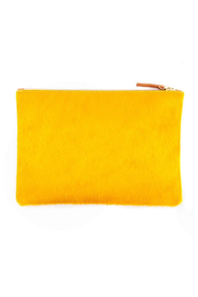 Clare V. Flat Clutch Supreme Yellow Hair-On
