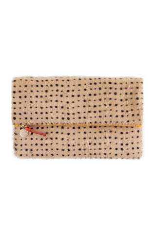 Clare V. Foldover Clutch Hair-On Tan Spotted