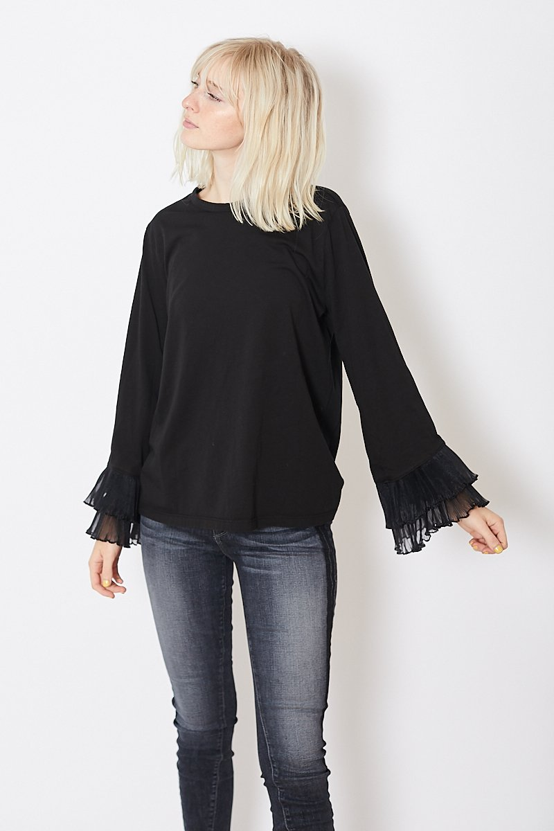 Clu Long Sleeve Top With Pleated Tulle