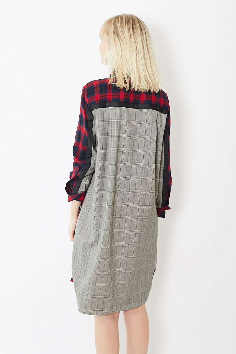 Clu Mix Media Button Up Plaid Dress