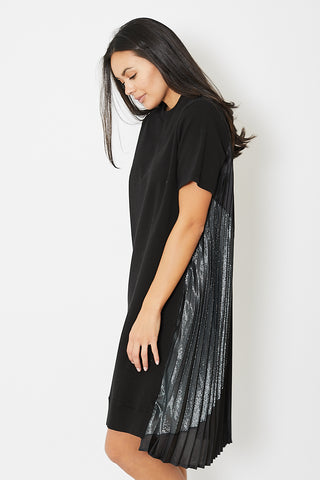 Clu Mix Media Dress With Paneled Pleating
