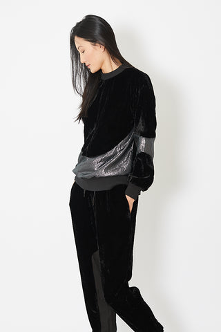 Clu Mix Media Paneled Pullover