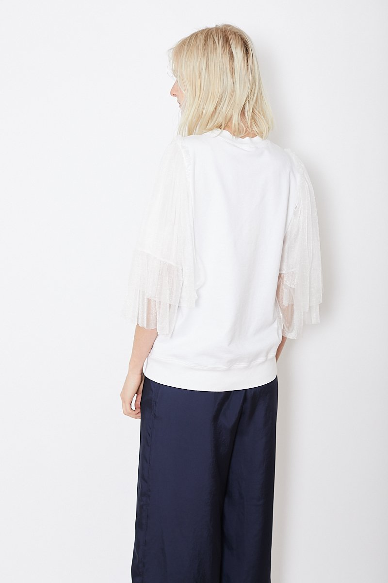 Clu Pullover With Contrast Tulle Sleeves