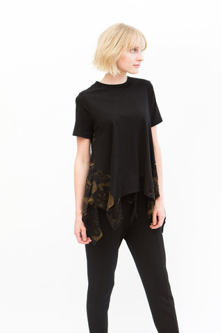 Clu Short Sleeve Top With Floral Mesh
