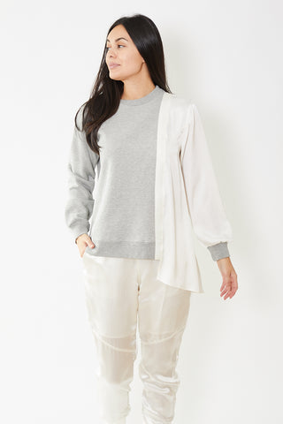 Clu Side Draped Mix Media Pullover