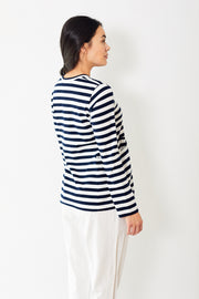 Comme des Garçons Cotton Jersey Thin Stripe Long Sleeve Tee with Pockets