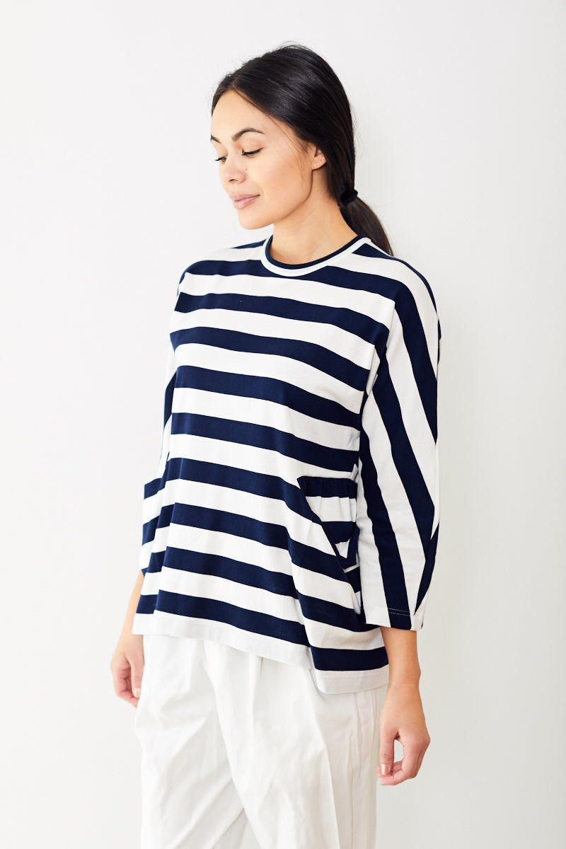 Comme des Garçons Cotton Jersey Wide Stripe Long Sleeve Tee with Pockets