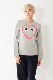 Comme des Garçons PLAY Red Heart Outline L/S Tee Shirt