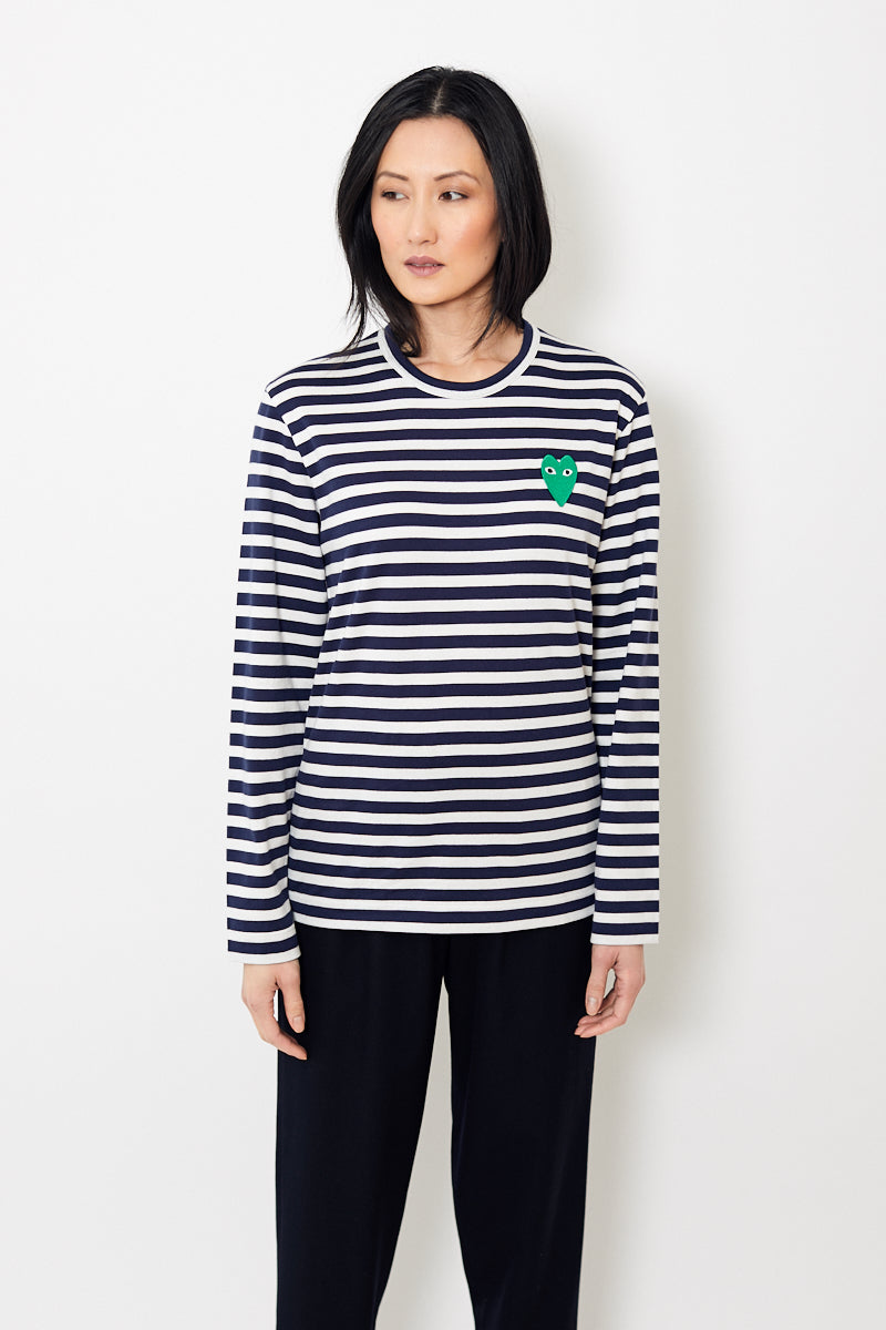 Comme des Garçons PLAY Striped Tee Shirt Green Heart