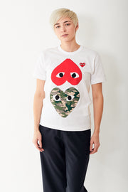 Comme des Garçons PLAY Tee Shirt w/ Camo Heart, Upside Down Red Heart