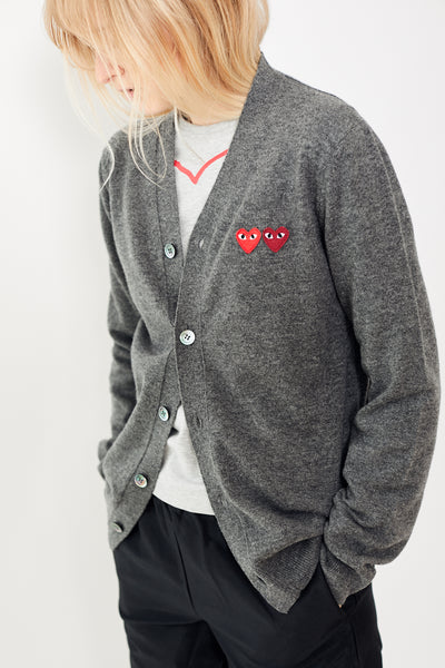Comme des Garçons PLAY V Neck Cardigan w/ Two Heart Patches