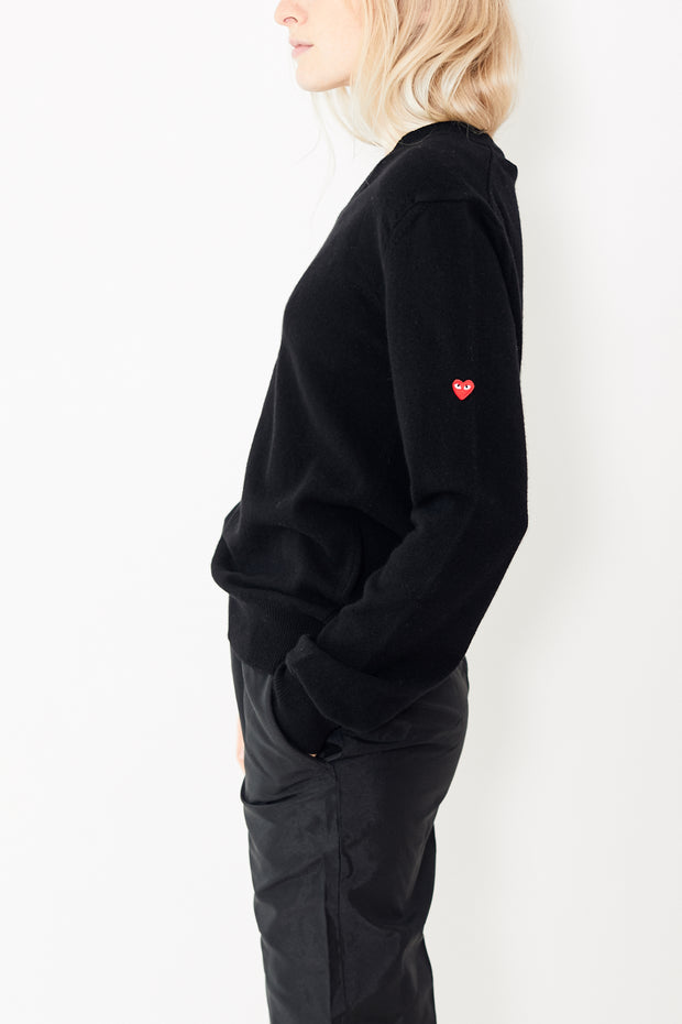 Comme des Garçons PLAY V Neck Pullover w/ Small Heart on Sleeve
