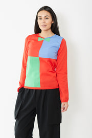 Comme des Garçons SHIRT Block Fully Fashioned Knit Intarsia Sweater