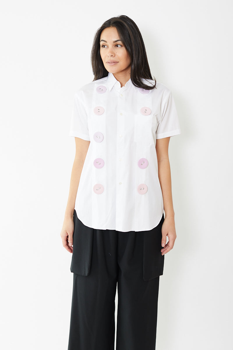 Comme des Garçons SHIRT Cotton Poplin Shirt with Micro Check Buttons