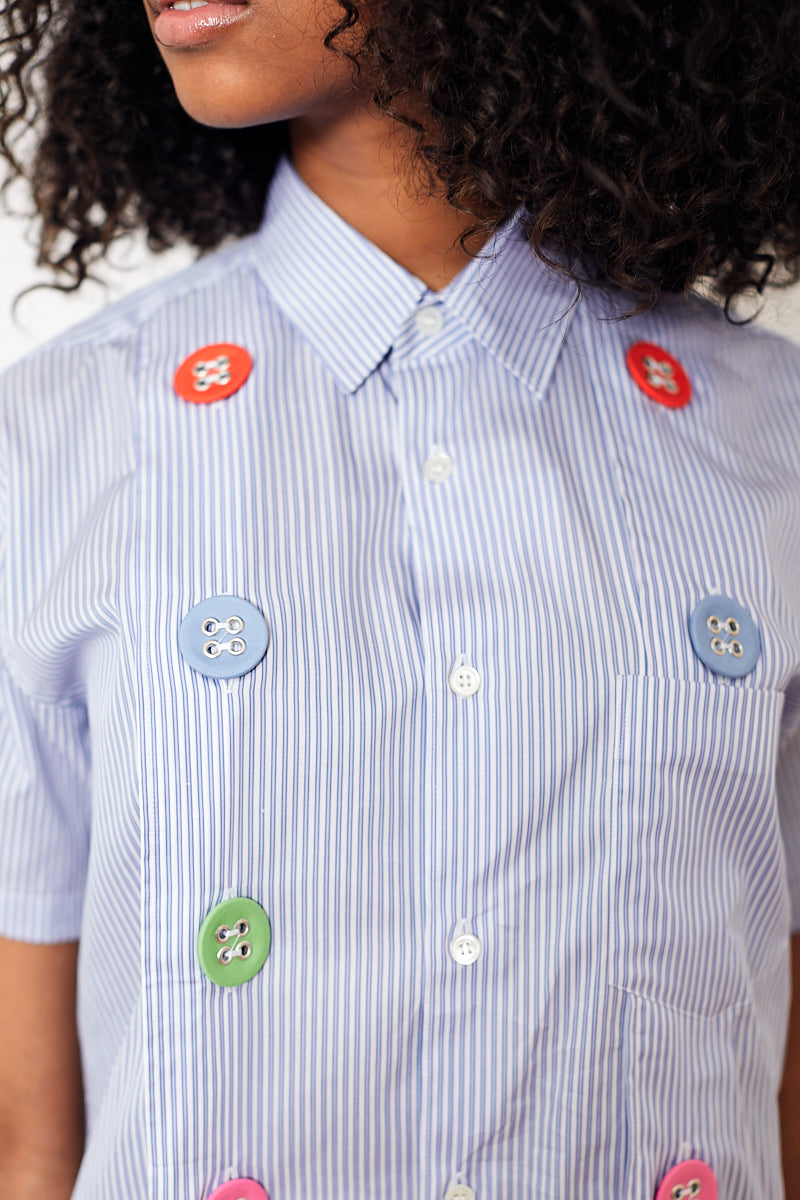 Comme des Garçons SHIRT Cotton Striped Button Up With Multi Color Buttons