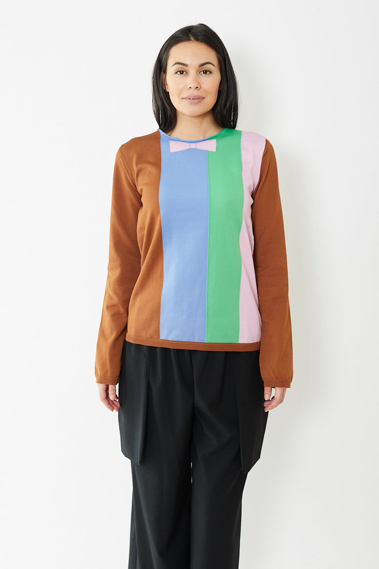 Comme des Garçons SHIRT Striped Fully Fashioned Knit Intarsia Sweater