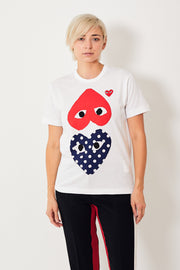 Comme des Garçons PLAY Tee Shirt w/ Mirrored Red, Polka Dot Hearts
