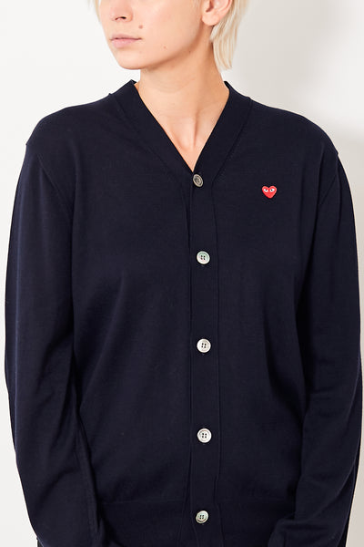 Comme des Garçons PLAY V Neck Cardigan w/ Small Red Heart