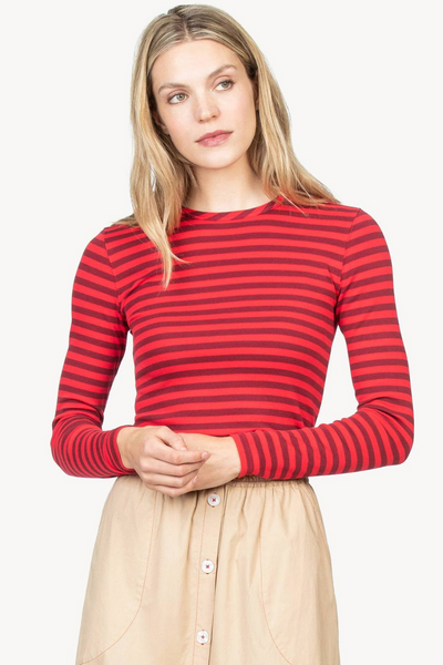 Lilla P Striped Long Sleeve Crewneck