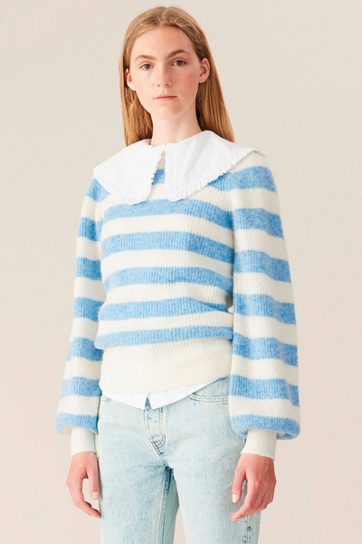Ganni Striped Puff Sleeve Knit Pullover