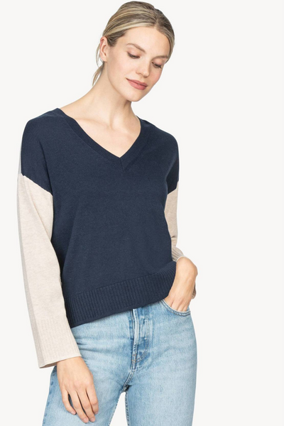 Lilla P Colorblock V Neck Sweater
