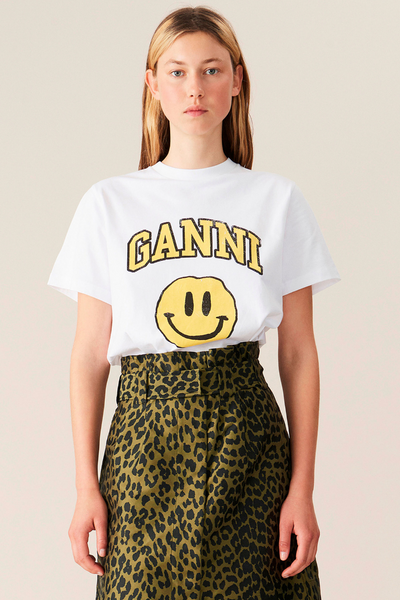 Ganni Smiley Basic Cotton T-Shirt