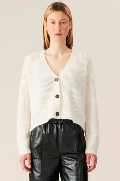 Ganni Cropped Soft Wool Knit Cardigan
