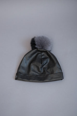 Cutuli Cult Leather Hat With Pompom - grethen house