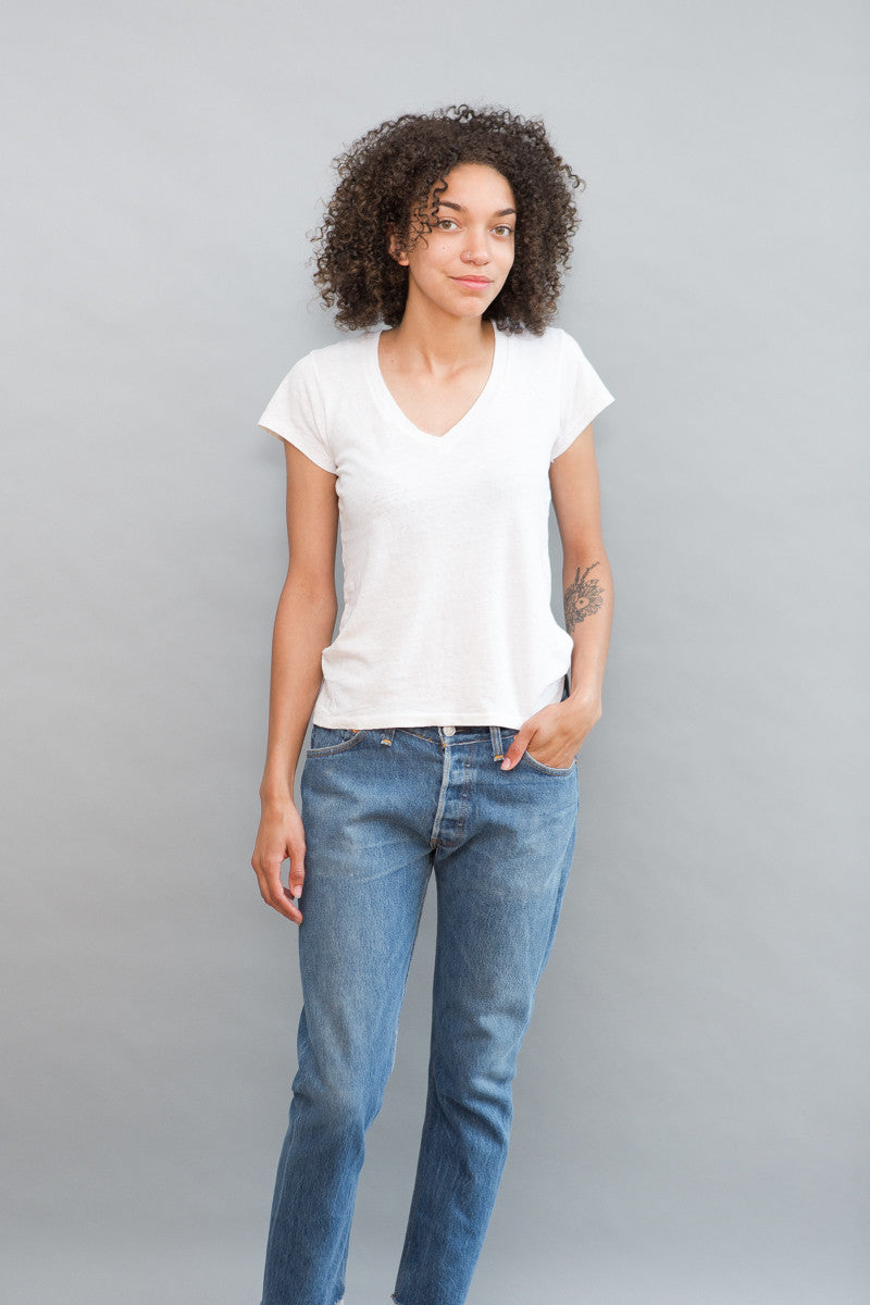 RE/DONE 1960s Slim V Neck Tee