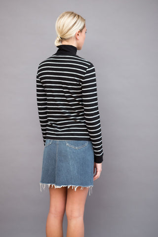RE/DONE Long Sleeve Mock Neck Stripe