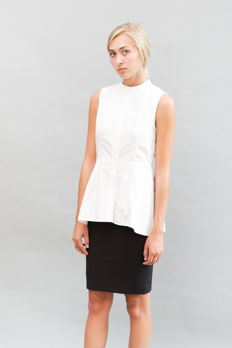 Derek Lam 10 Crosby Short Long 3 Button Shirt Peplum - grethen house