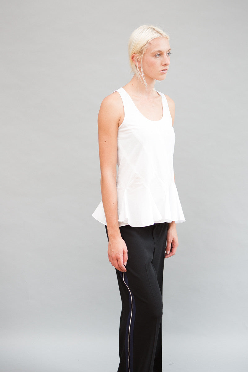 Derek Lam 10 Crosby Sleeveless Shell With Godet Back Detail - grethen house