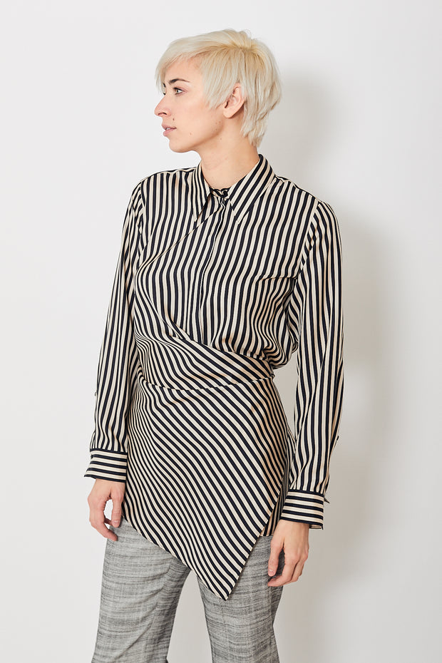 Dorothee Schumacher Striped Sensation Asymmetrical Blouse
